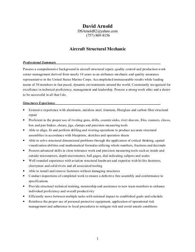 Resume Structures Mechanic