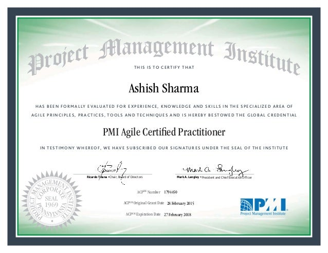 HAS BEEN FORMALLY EVALUATED FOR EXPERIENCE, KNOWLEDGE AND SKILLS IN THE SPECIALIZED AREA OF AGILE PRINCIPLES, PRACTICES, T...