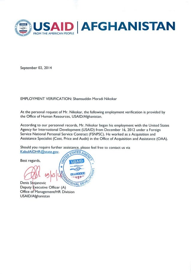 1. SNikokar's USAID's Mission Employment Letter