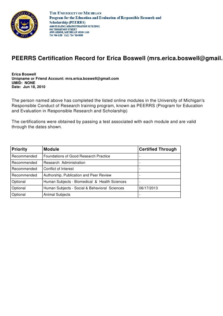 PEERRS Certification Record for Erica Boswell (mrs.erica.boswell@gmail.c  Erica Boswell Uniqname or Friend Account: mrs.er...