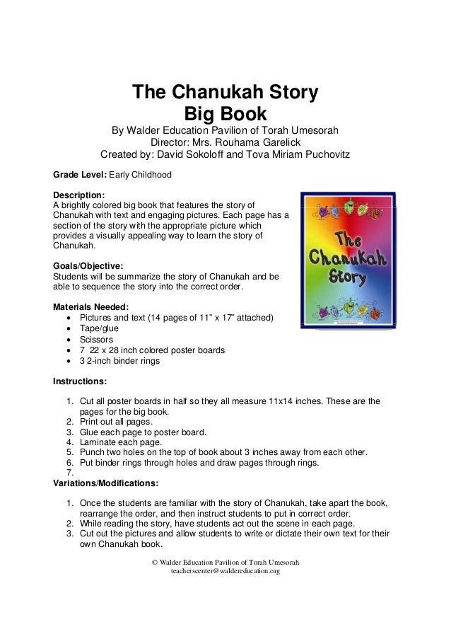 © Walder Education Pavilion of Torah Umesorah teacherscenter@waldereducation.org  The Chanukah Story Big Book By Walder E...