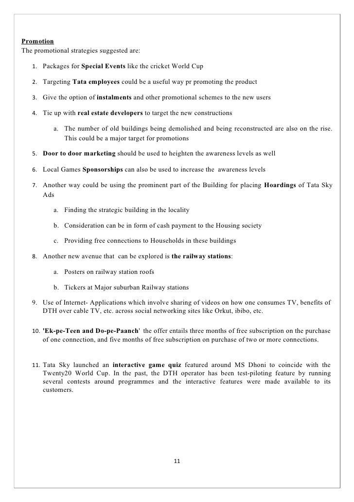 8494250 Tata Sky Marketing Plan