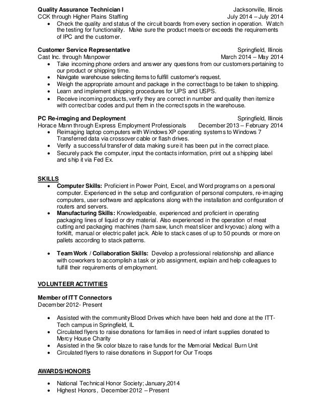 quality control technician resume