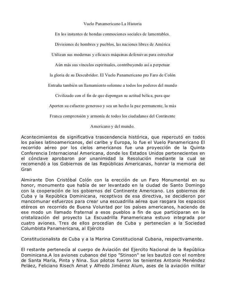 Vuelo Panamericano La Historia               En los instantes de hondas conmociones sociales de lamentables.              ...