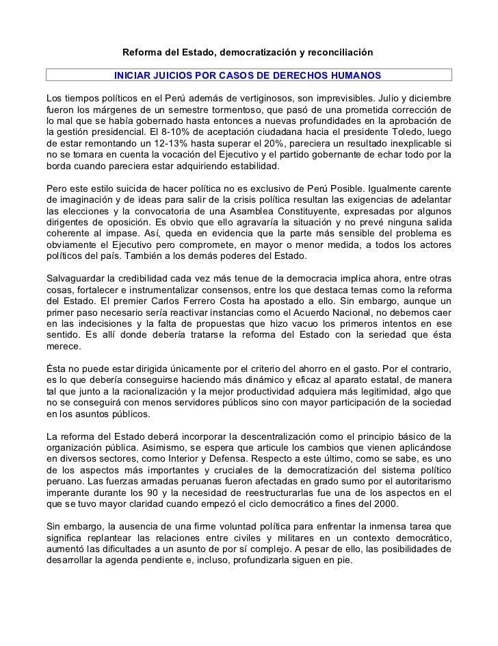 Reforma del Estado, democratización y reconciliación                INICIAR JUICIOS POR CASOS DE DERECHOS HUMANOSLos tiemp...