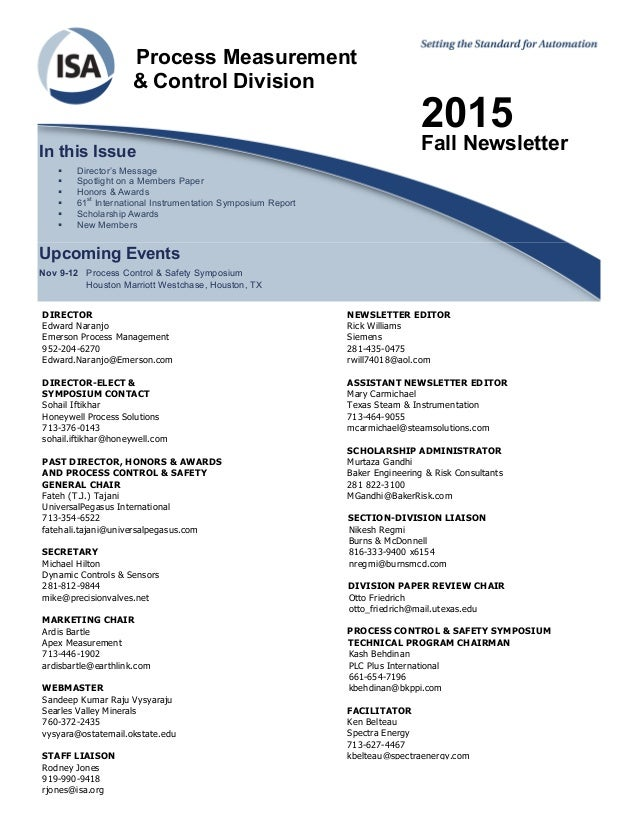 Process Measurement & Control Division 2015 Fall NewsletterIn this Issue  Director's Message  Spotlight on a Members Pap...
