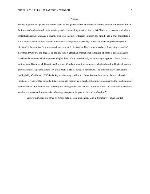 CHINA. A CULTURAL STRATEGIC APPROACH 2 Abstract The main goal of this paper is to set the basis for the quantification of ...