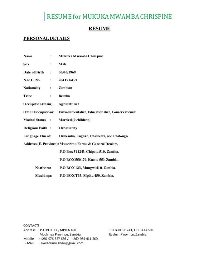 resume contacts