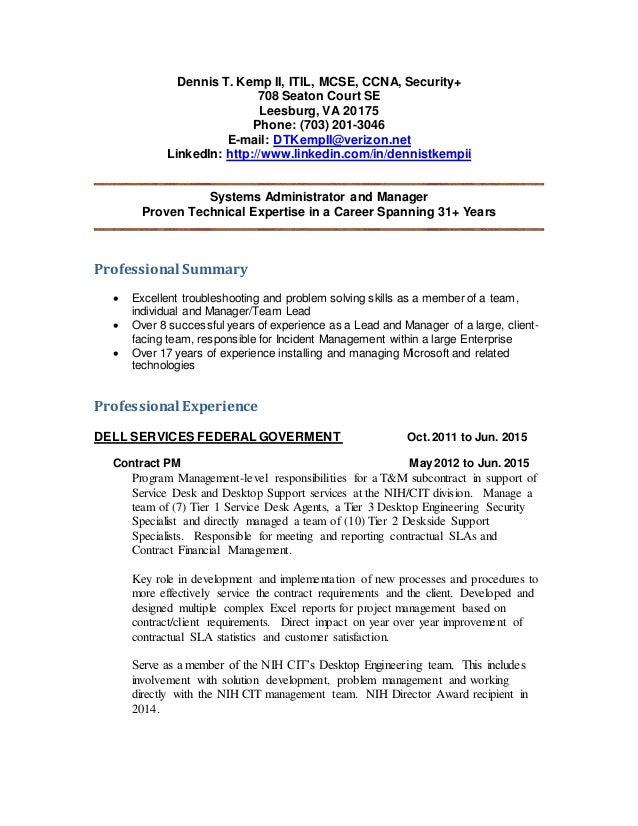Dennis T Kemp II - Resume 6-16-2015