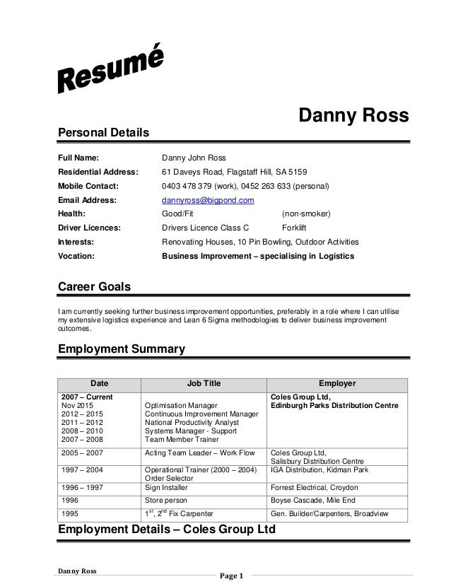 Ross DJ Resume. Danny Ross Page 1 Danny Ross Personal Details Full Name:  Danny John Ross Residential Address ... To Dj Resume