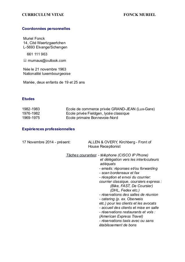 CURRICULUM VITAE FONCK MURIEL ! ! Coordonnées personnelles ! !! Etudes !! 1982-1983 Ecole de commerce privée GRAND-JEAN (L...