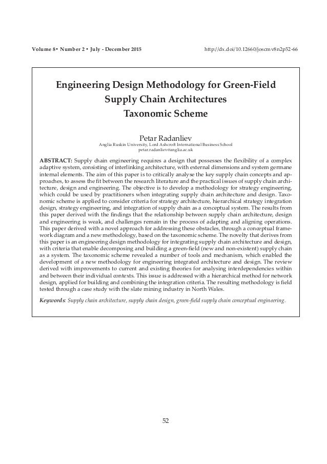 Engineering Design Methodology for Green-Field Supply Chain Architectures Taxonomic Scheme Petar Radanliev Anglia Ruskin U...