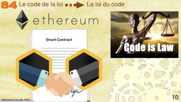 Mohamed Louadi, PhD – ISG-Tunis/Mediterranean School of Business 10 Le code de la loi La loi du code