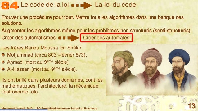 Mohamed Louadi, PhD – ISG-Tunis/Mediterranean School of Business 13 Trouver une procédure pour tout. Mettre tous les algor...