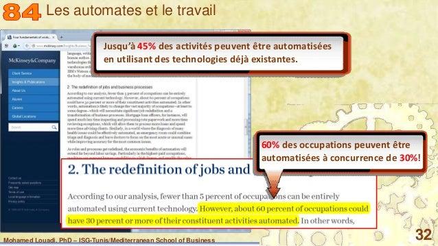 Mohamed Louadi, PhD – ISG-Tunis/Mediterranean School of Business 32 60% des occupations peuvent être automatisées à concur...