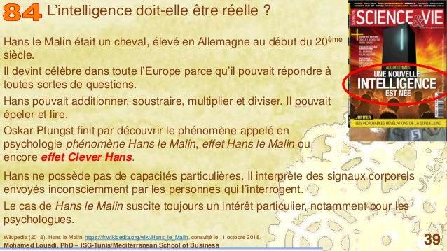 Mohamed Louadi, PhD – ISG-Tunis/Mediterranean School of Business 39 Hans le Malin était un cheval, élevé en Allemagne au d...