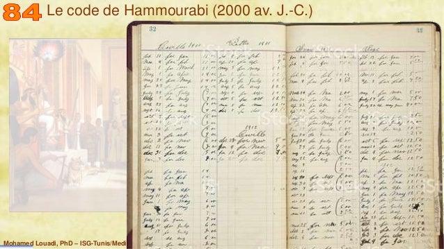 Mohamed Louadi, PhD – ISG-Tunis/Mediterranean School of Business 4 Le code de Hammourabi (2000 av. J.-C.)