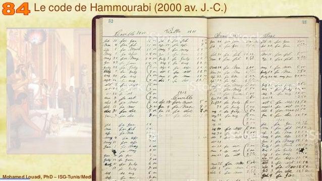 Mohamed Louadi, PhD – ISG-Tunis/Mediterranean School of Business 5 Le code de Hammourabi (2000 av. J.-C.)