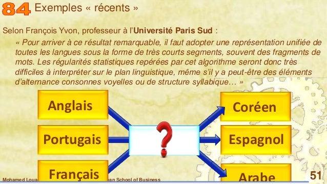 Mohamed Louadi, PhD – ISG-Tunis/Mediterranean School of Business 51 Selon François Yvon, professeur à l'Université Paris S...