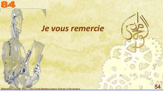Mohamed Louadi, PhD – ISG-Tunis/Mediterranean School of Business 54 Je vous remercie