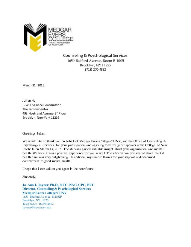 Thank you letter cuny medgar evers college thank you letter cuny medgar evers college counseling psychological services 1650 bedford avenue room b 1005 brooklyn ny 11225 expocarfo