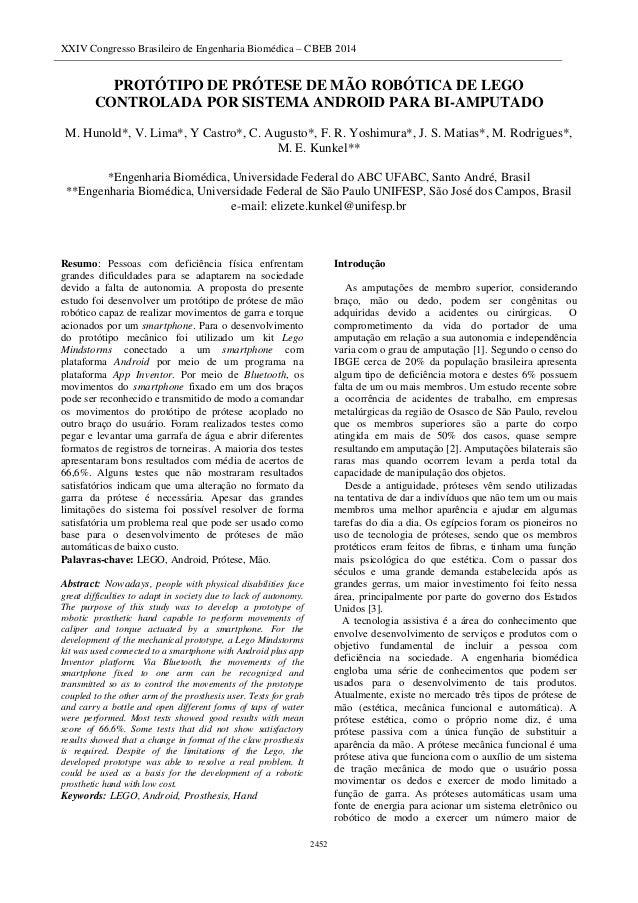 XXIV Congresso Brasileiro de Engenharia Biomédica – CBEB 2014 2452 PROTÓTIPO DE PRÓTESE DE MÃO ROBÓTICA DE LEGO CONTROLADA...