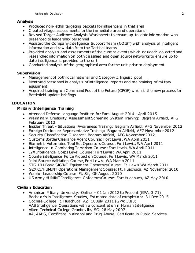 humint analysis resume
