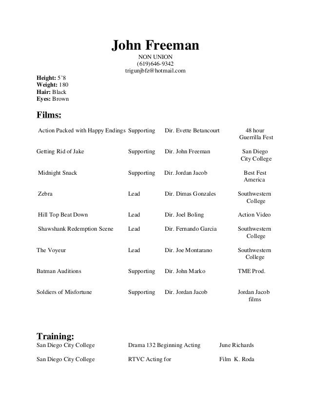 John Freeman Acting Resume