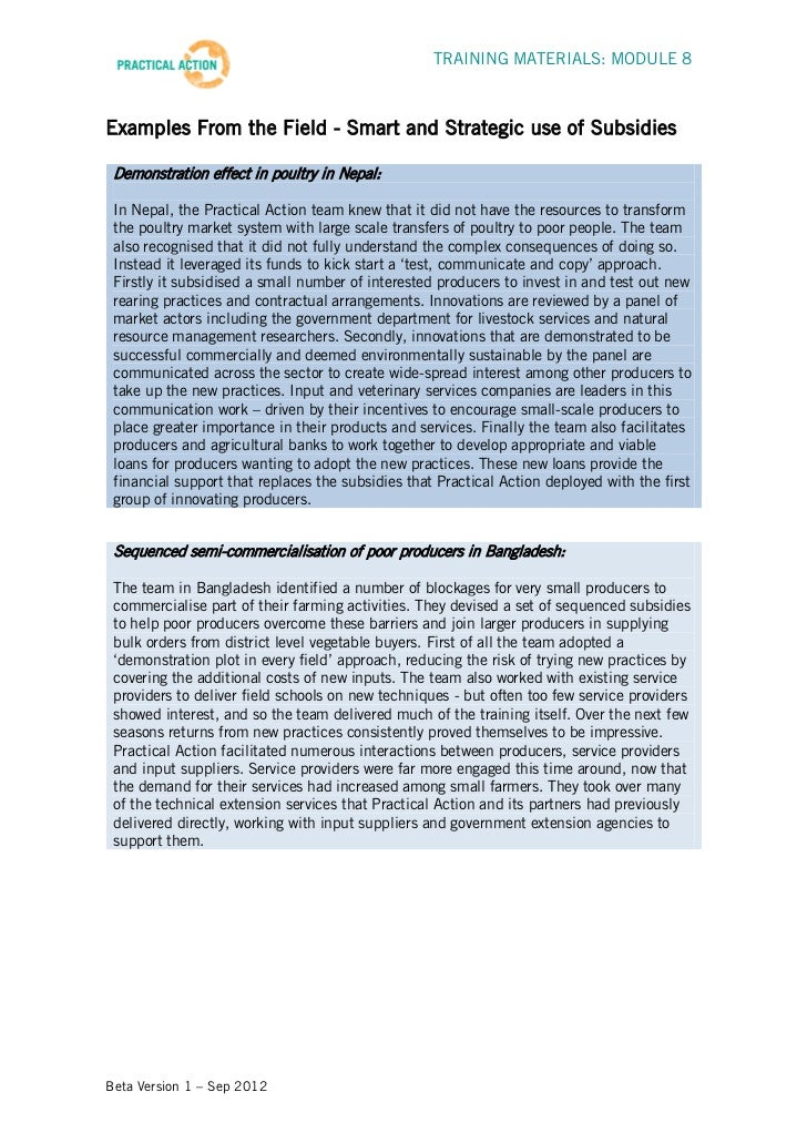 TRAINING MATERIALS: MODULE 8Examples From the Field - Smart and Strategic use of Subsidies Demonstration effect in poultry...