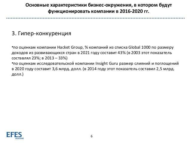 Основные характеристики бизнес-окружения, в котором будут функционировать компании в 2016-2020 гг. 6 3. Гипер-конкуренция ...
