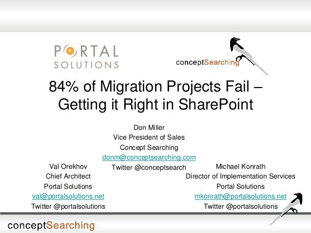84% of Migration Projects Fail – Getting it Right in SharePoint Don Miller Vice President of Sales Concept Searching donm@...