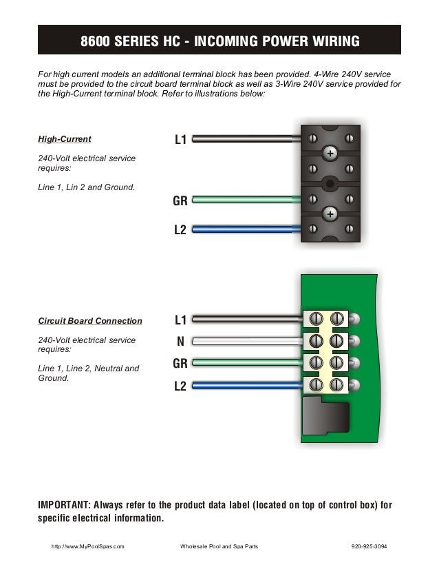 8600 SERIES HC - INCOMING POWER WIRINGFor high current models an additional terminal block has been provided. 4-Wire 240V ...