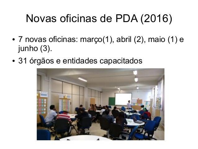 Novas oficinas de PDA (2016) ● 7 novas oficinas: março(1), abril (2), maio (1) e junho (3). ● 31 órgãos e entidades capaci...