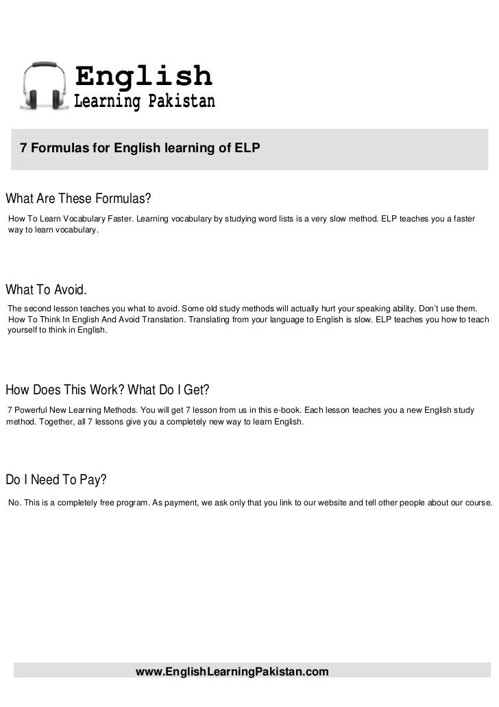 English                 Learning Pakistan   7 Formulas for English learning of ELPWhat Are These Formulas?How To Learn Voc...