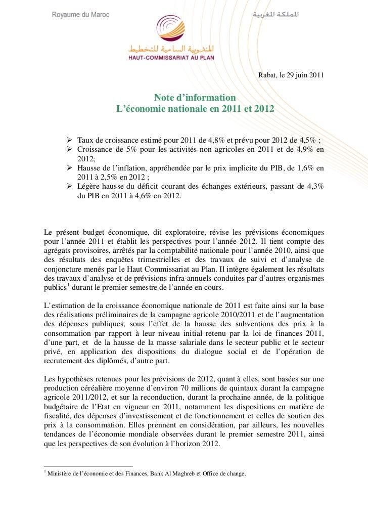 Rabat, le 29 juin 2011                                     Note d'information                              L'économie nati...