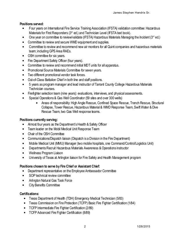 Fire Chief Resume