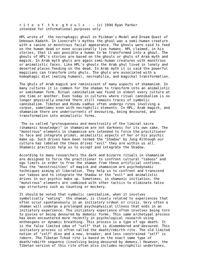 r i t e o f t h e g h o u l s - - (c) 1994 Ryan Parkerintended for informational purposes onlyHPL wrote of the necrophagic...