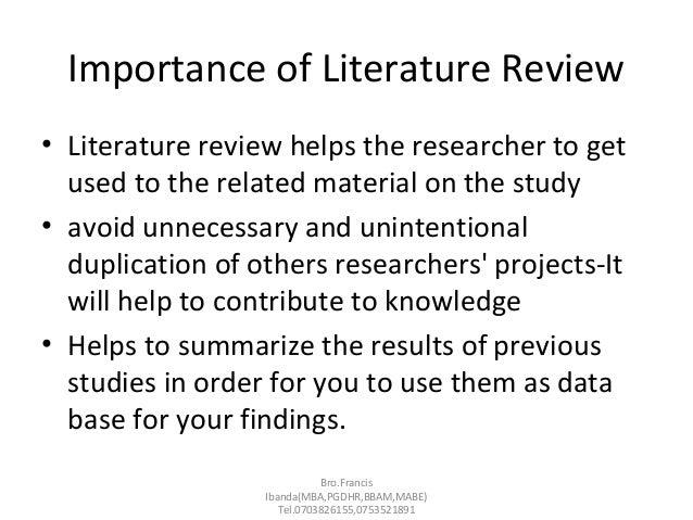 advantages of literature review pdf