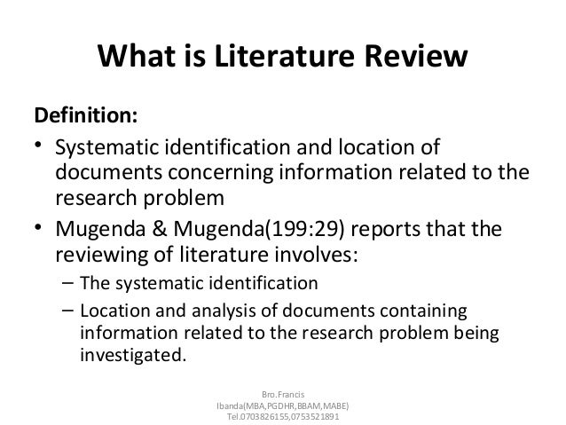 what is the definition of literature review