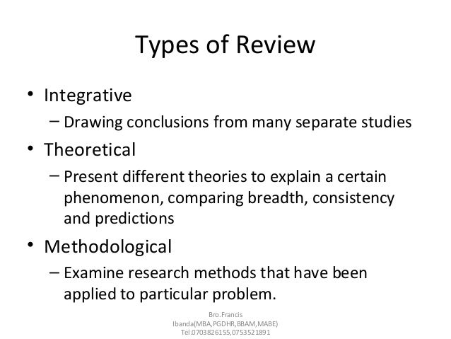 Types of sources of literature review