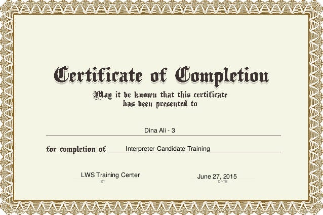 Dina Ali - 3 Interpreter-Candidate Training LWS Training Center June 27, 2015
