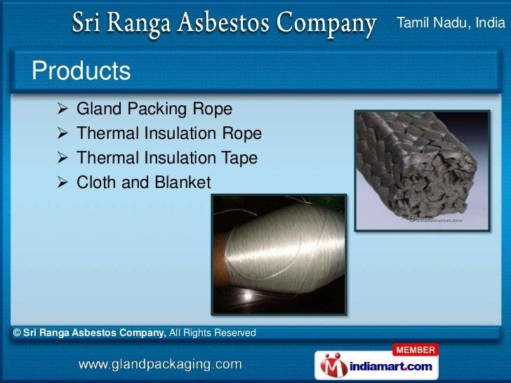 Gland Packing Rope By Sri Ranga Asbestos Company Coimbatore