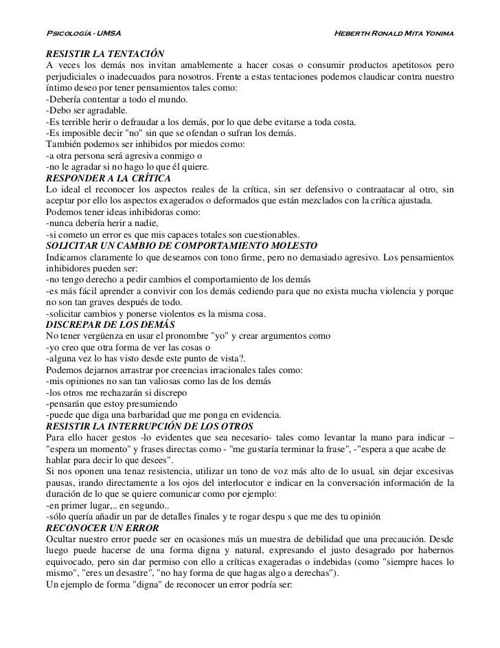 Psicología - UMSA                                                      Heberth Ronald Mita YonimaRESISTIR LA TENTACIÓNA ve...