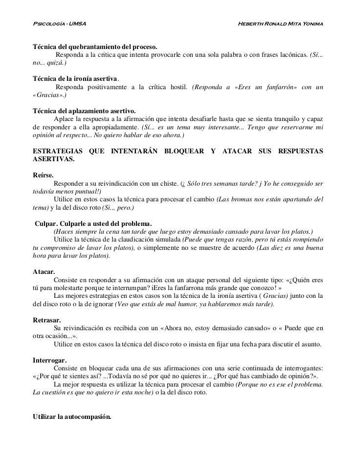 Psicología - UMSA                                                           Heberth Ronald Mita YonimaTécnica del quebrant...