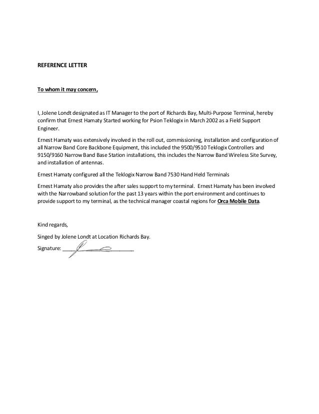 Ernest hamaty reference letter mpt terminal signed reference letter to whom it may concern i jolene londt designated as it manager stopboris Images