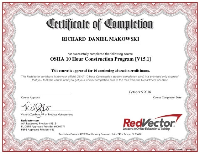 Osha Certificate Of Completion