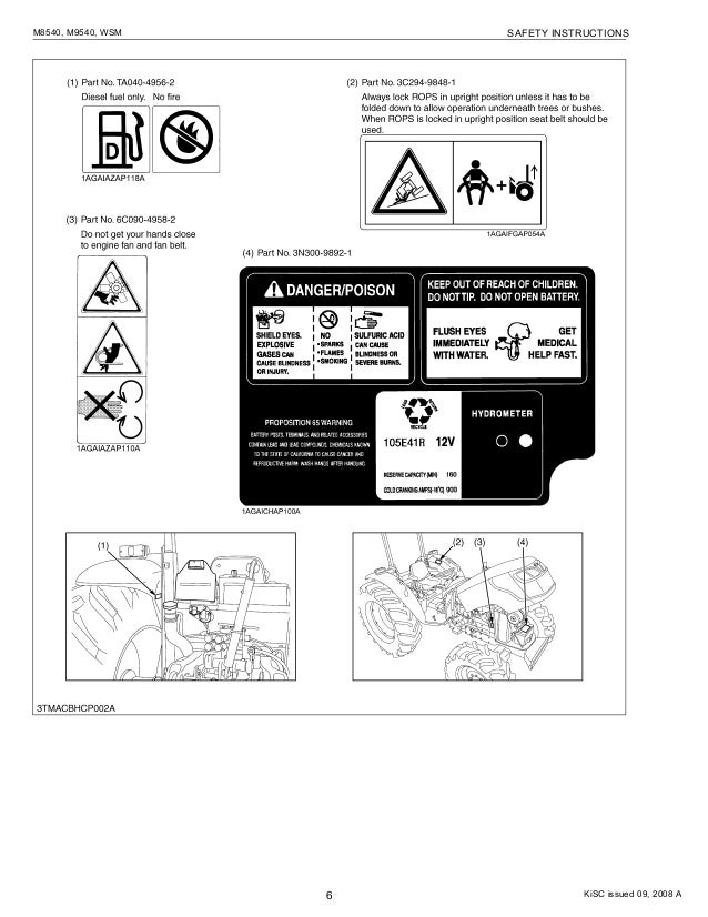 Kubota M8540, M9540 Tractor Service Manual