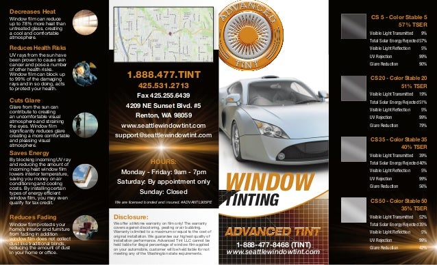 Window Tinting Film >> Advanced Tint Brochure