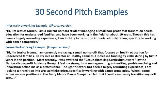 Sample pitch for resume resume ideas for 30 second pitch template