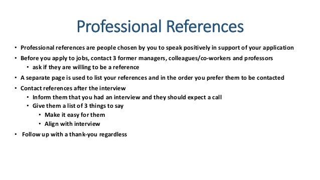 how to list professional references